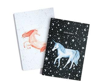Unicorns - Set of Two Lined // Plain A6 Notebooks