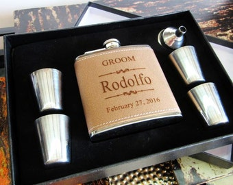 Gift for Groom, Personalized Flask Gift Set, Father of Groom Gift, Wedding Party Favors, Best Man Gift, Gift for Officiant, Wedding Gift Box