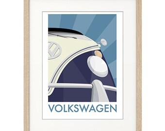 "VW Campervan - Split Screen - BLUE A3 (16.5 x 11.7"") or A4 (11.7 x 8.3"") signed print UNFRAMED"