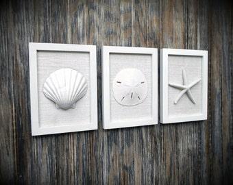 Cottage Chic Set of Beach Wall Art, Sea Shells Home Decor, Beach House Wall Decor, Shell Art, Coastal Art, White Frames & Soft White Burlap