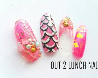 Mermaid, Gemstone, , pink, gold,broken glass, Hand painted, Nail art, false nails, fake nails, glitter, gel nails, acrylic, rhinestones