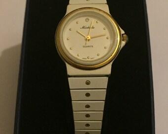 Vintage Rare 1980s Ladies White Enamel Crystal Dial Michele Quartz Watch