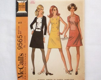 Vintage McCall's dress pattern 9565 size 16 uncut sewing pattern 1960s shift dress 1968