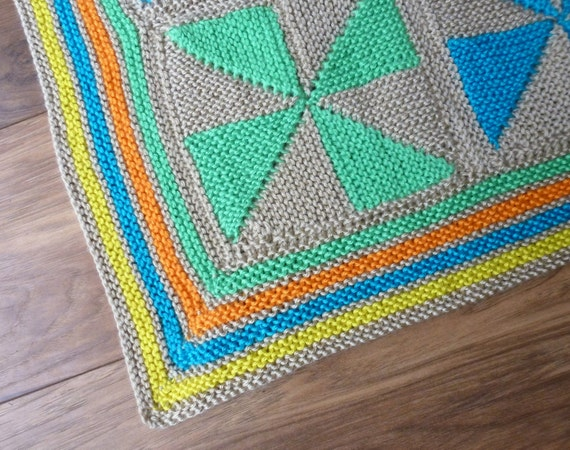 Pinwheel Patchwork Baby Blanket Knitting Pattern from CraftyGransLovelies on ...