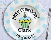 Kids Birthday Party - First Birthday Personalized Pottery Plate -  Happy 1st Birthday Gift -  Blue Polkadot Cupcake Plate