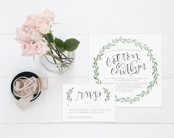 Laurel Wedding Invitation, Greenery Wedding Invitation Suite, Wreath Invitation Print, Hand lettered Wedding Invitation,