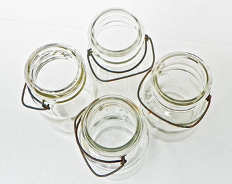 Old Rusty Jars Lot - Atlas - Ball Ideal - Quart Size - Wire Bails Beat Up - Embossed Clear Glass