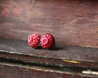 Red mosaic earrings, flower, 10 mm, bronze