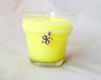 Gardenia candle, soy candle, scented candle, decorative flowerpot, unique candle, container candle, flower charm, flowerpot candle,