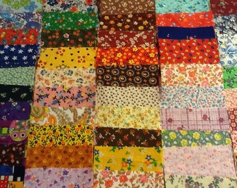 Lot of One Hundred Pieces - 3 inch squares of Feedsack and Vintage Fabric