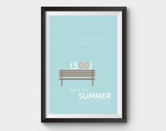 500 Days of Summer - A3 movie poster, print, film poster, typographic poster, love story, minimalist movie poster, new girl, romance, love,