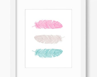 Feather print, Feather printable, Feather wall art, Feather art, bohemian art, teal & coral decor, pink wall decor, nursery decor, kids room