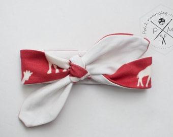 Baby head band - red giraffe