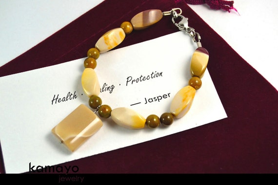 """WHITE JASPER BRACELET - Mookaite Jasper Pendant and Yellow-flecked Beads with Brown Ocean Jasper Accents - Fits Wrist of Up to 5.8"""""""