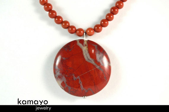 """RED JASPER NECKLACE - Large Coin Pendant - 17 3/4"""""""