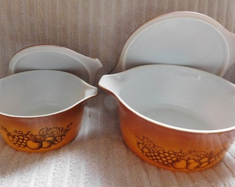 Vintage Set of 2 Pyrex Orchard Brown Casserole with Lids