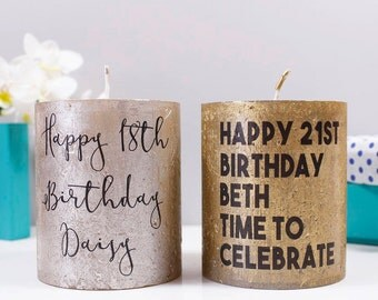 Birthday Personalised Candle- Birthday Metallic Candle - Birthday Gift - 21st Birthday- 18th Birthday gift - Personalised Candle