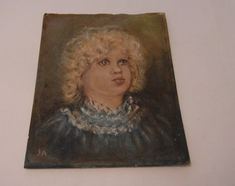 Original Oil Painting Small child OOAK Oil Painting Small Girl Vintage original Oil Painting Young Girl In Blue Dress 1950s