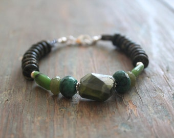 "925 Sterling Silver bracelet, Forest Green, Seraphinite and Emerald, Vesuvianite Butterfly Necklace ""Emerald Isle""."