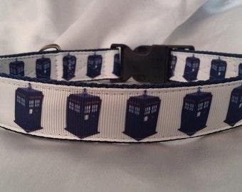 Handmade Dog Collar-Dr Who, Tardis (Matching Lead Available)