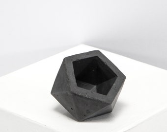 Mini Concrete Geometric dark icosahedron