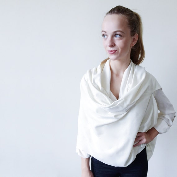 White Cape-Long Silk Scarf-Silk Scarf Cape-Cape Scarves-Blanket Scarf-Blanket Scarves-Day to Night Scarves-Oversized Scarves-Cape
