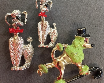 A Trio of Vintage Poodle Brooch Pins-Very 1950's! Free shipping