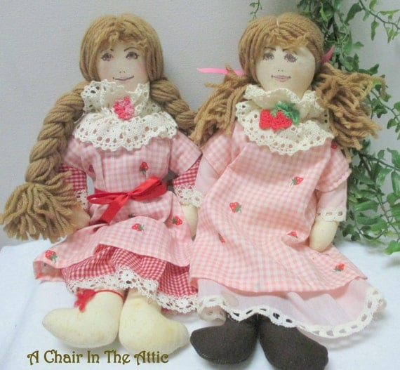 Pink Dressed Rag Dolls With Yarn Hair Vintage Rag Doll Pair