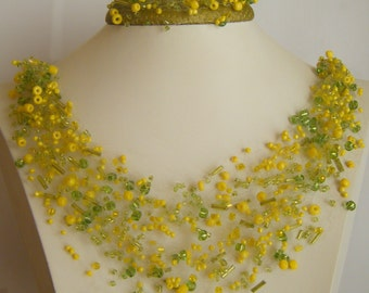 Air beaded necklace and bracelet . set