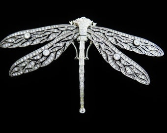 Magnificent Huge Crystal And Rhinestone Dragonfly Brooch Pin