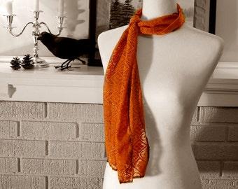 Pumpkin Orange Lace Scarf