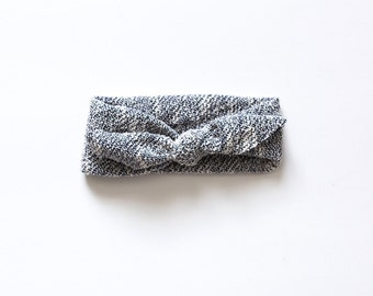 Gray textured knotted headband