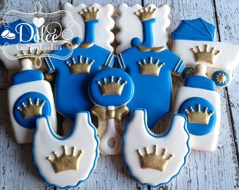 Little Prince Royal Crown Gold or Silver Baby Shower Cookies