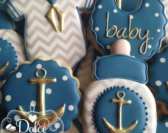 Nautical Navy and Gold Anchor Baby Shower Cookies