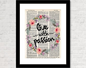 Live With Passion Print - Inspirational Print -  Bohemian Art, Boho Decor, Modern Hippie,  Office Inspiration, Dorm Art,  Dictionary Print