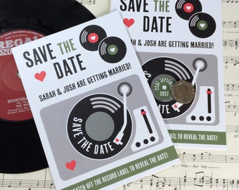 Wedding Save The Date Cards - Scratch Off Vinyl Record Design