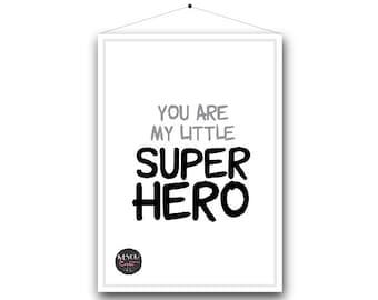 Kids Print   Superhero series. A4 Print.