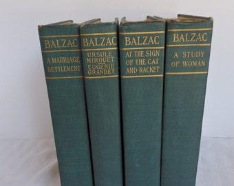 Set of 4 Vintage Balzac Novels. Cloth Bound Vintage books.