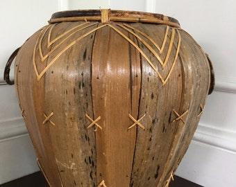 Vintage Mid Century/ Hollywood Regency Wicker Rattan Woven Basket / Chevron Planter