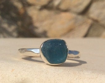 US 10.75, Raw Apatite Ring, Raw Stone Silver Ring, Rough Gemstone Ring, Blue Stone Ring, Natural Gemstone Silver Ring