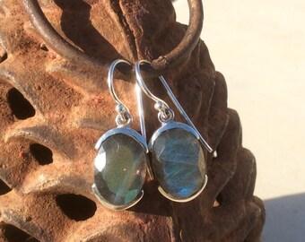 Gemstone Drop Earrings, Labradorite Earrings, Gemstone Oval Stone Earrings, Blue Grey Stone Earrings,  Labradorite Silver Earrings