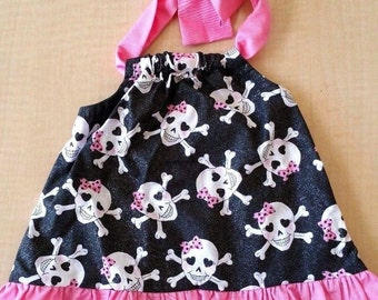 Glitter Skull Pink and Black Baby Dress Size 6 Months, 12 Months & 24 Months
