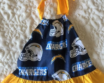 San Diego Chargers Football Baby Dress Size 3 Months, 6 Months, 12 Months, 2T and 4T