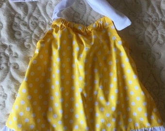 Yellow and White Polka Dot Dress Size 12 Months