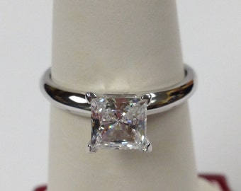 Cubic Zirconia Engagement Ring Set 925 Sterling Silver