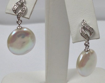 Cultured Freshwater Pearl with Natural Diamond Dangle Earrings 925 Sterling Silver