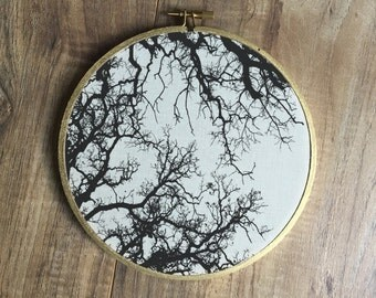 Tree Branches Silhouette print, rustic, boho, home decor, nature art, embroidery hoop art, print