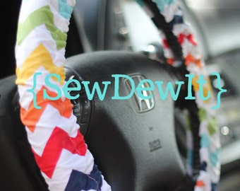 Steering Wheel Cover Riley Blake Multicolored Rainbow Medium Chevron Cute Girly Trendy Gift for Her Car Accessories Gift Idea