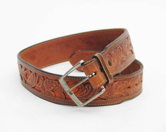 vintage Justin leather cowboy belt sz 30