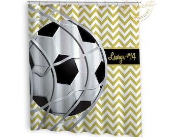 Kids Sports Shower Curtain   Soccer Chevron Gold U0026 White With Black    Sports Shower Curtain
